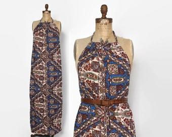 Vintage 70s Halter DRESS / 1970s Boho Ethnic Print Cotton Backless Maxi Dress