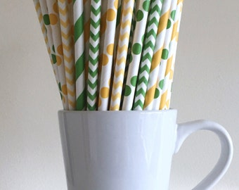 Yellow and Green Paper Straws Golden Yellow and Kelly Green Striped, Chevron, Polka Dot Party Supplies Mason Jar Straws Bar Cart Accessories