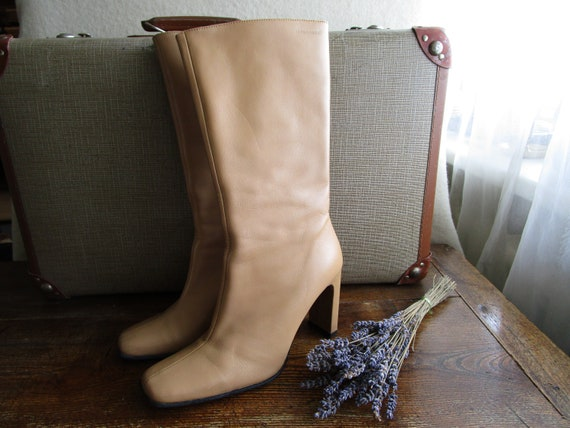 Made Beige Elegant 8 6 US Uk 90s TEN Genuine With Heel Tall 5 Womens POINTS Vintage Leather a by Boots Size Eu 39 qEvEUC