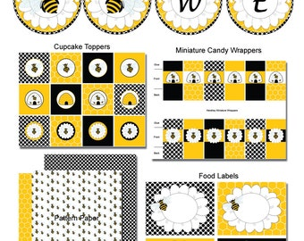 Bumble Bee Baby Shower Party Package-Gender Reveal Party Package-INSTANT DOWNLOAD