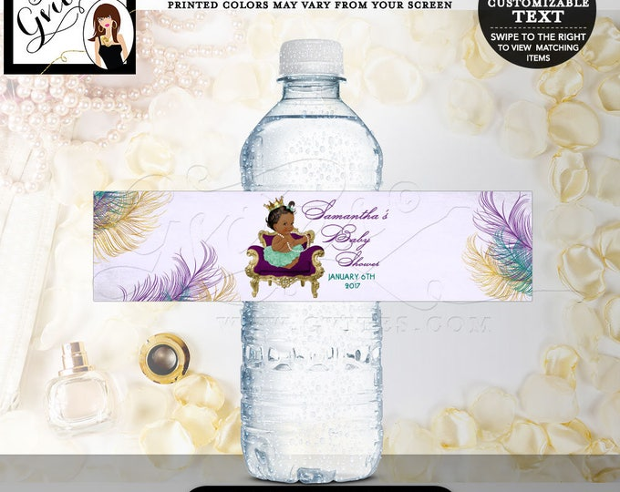 "Peacock water labels, peacock baby shower label, water bottle party favors, stickers, purple gold and green, DIGITAL {8x2""/5 Per Sheet}"