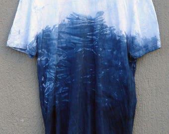 Indigo Hand Dyed Shibori T-Shirt 44 Size M