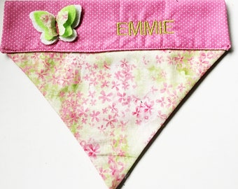 Pink and Green Over the Collar Spring Bandana for Dogs and Cats