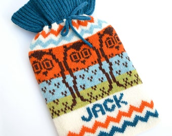 Personalised Knitted Fairisle Owl Hot Water Bottle Cozy/Cosy