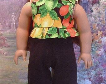Lemons and Oranges Capri Pant and Peblum Top for American Girl