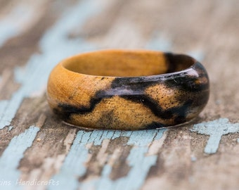 Black and White Ebony Wood Ring - Pale Moon Ebony Womens Mens Wooden Wedding Band Engagement Ring Wood Anniversary Couples Rings Jewelry