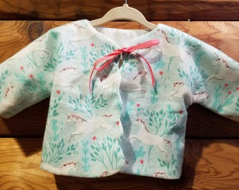 Infant - Sacque - Kimono - Newborn Size - 100% Cotton - Unicorn - Flannel - Ready to Ship