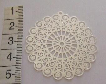 silver print, 42mm diameter print, pendant, creation jewels