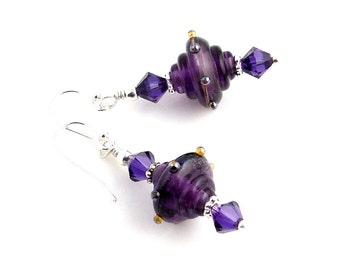 Purple and Sterling Silver Beaded Lampwork Earrings, Lampwork Jewelry, Fashion Jewelry, Gifts, Fall Fashions, Glass Bead Earrings