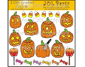 JOL Party Halloween Clip Art Digital File Instant Download in both JPG and PNG files