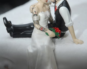 Custom Tattooed Wedding Cake Topper ~ Sitting Position