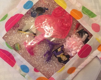 I-Spy Bag - Quiet Time Activity - Polka Dots - Eye Spy Look and Find Game - Pink Blue Orange Yellow
