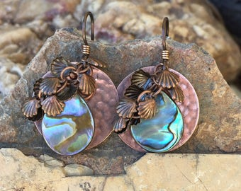 Hammered Copper Disks . Mini Shells. Freshwater Pearl . Earrings