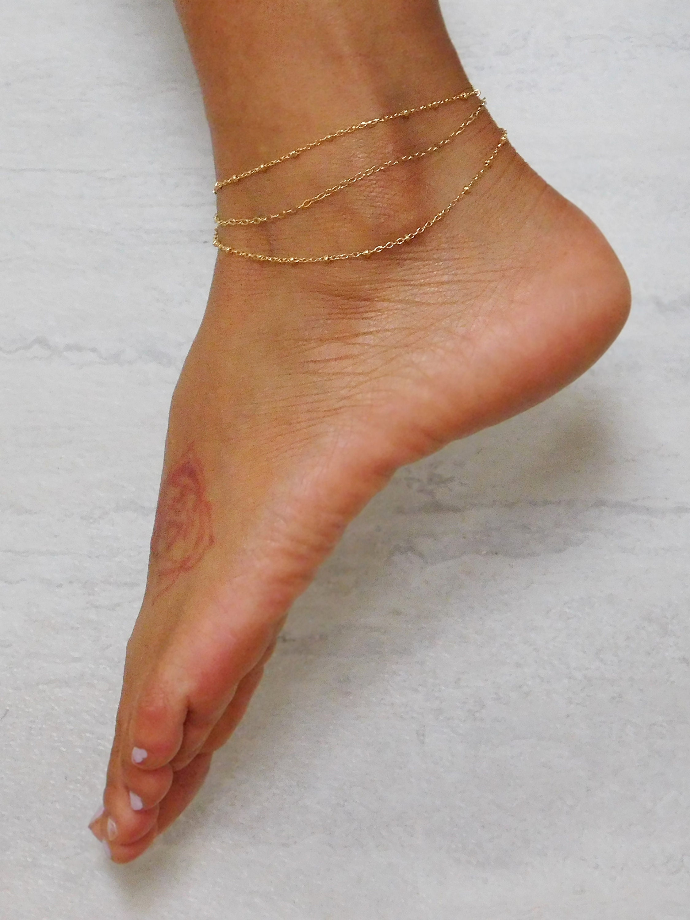 ankle elegant chain gold bracelet chaine jewellery bracelets patterns sandals for beaded oblacoder anklet womens barefoot foot women anklets silver cheville