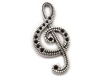 Treble Clef Pendant in Silver Tone Metal, Treble Clef Pendants, Music Pendant, Music Notation Pendant