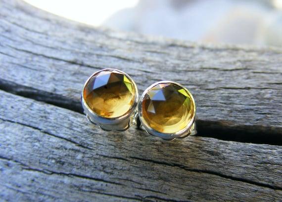Whiskey Quartz Citrine Like Studs,  Rose Cut Whiskey Quartz Gemstone Dangle Earring, Yellow Gemstone, November Birthstone Bridesmaid Jewelry