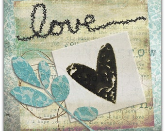Card I love handmade original creation hand 15cm x 15cm Valentine