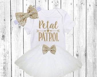Petal Patrol. Flower Girl Shirt. Flower Girl Outfit. Flower Girl Tutu Outfit. ** Solid White **