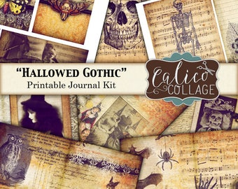Printable, Journal Kit, Hallowed Gothic, Junk Journal Kit, Halloween, Spooky, Printable Ephemera, Vintage Halloween, Journal Tags