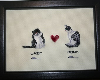 Cross Stitch Multiple Family Cats.