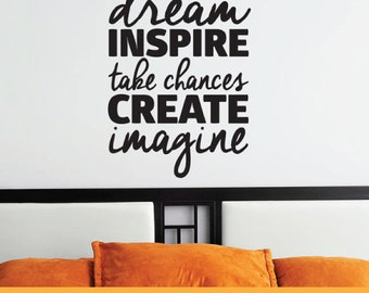 Dream Inspire Create Imagine | Removable Wall Decal Sticker | MS034VC