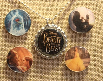 Beauty and the Beast Interchangeable Bottle Cap Necklace