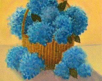 "Hydrangeas Nantucket Basket Coastal Beachy Original signed Acrylic Painting square 6""x 6""x 1.5"""