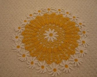 "vintage yellow and white crocheted daisy doily . . .  from the 1940's . . .  excellent condition . . . 10"" diameter"