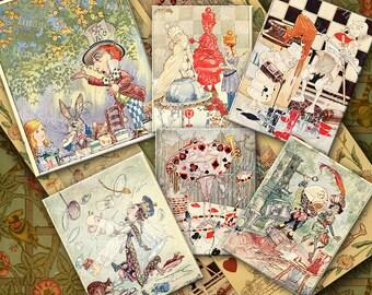 Alice In Wonderland Digital Collage Sheet, Instant Image Download, Vintage Printables, Children's Book Illustrations,
