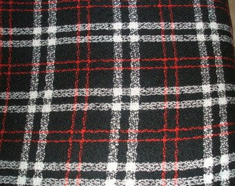 Black Red White Check Boucle Lightweight Suiting Fabric x one yard