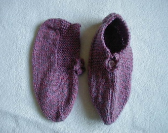 Hand Knitted Slippers Colour Pink,Lilac,Grey Mix