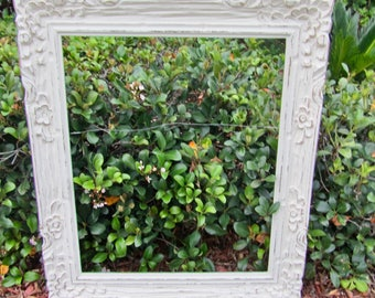 Large wood vintage shabby chic large antique off white picture frame