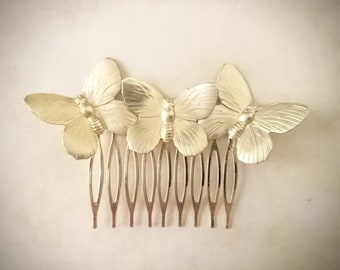 Butterfly Hair Comb Gold Butterflies Hair Comb Butterfly Hair Clip Butterfly Headpiece Bridal Hair Wedding Headpiece Wedding Jewelry