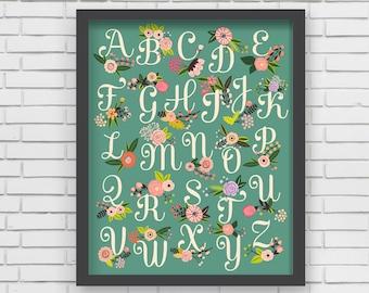 Home Decor Nursery Wall Art - Floral Alphabet Print (green) - 8x10 or 11x14