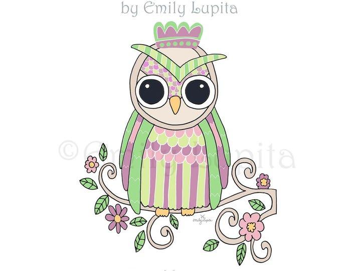 "Illustration Art Print ""Spring Owl"" / Bird Portrait Wall Art / Nursery New Baby / Baby Shower Gift / Animal Artwork"