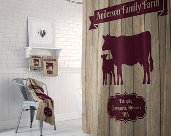 Personalized Farmhouse Chic Cow Shower Curtain, Faux Wood   Custom Bath Mat, Bath Towels