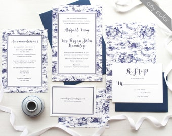 Vintage French Toile Wedding Invitation Suite with Calligraphy in Royal Blue