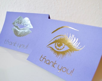 Thank You Cards A6, Metallic Purple or Cream colored card, metallic foil effect, Younique Inspired thank you cards A6, set of 10