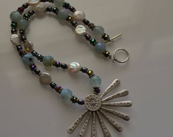 Pearl and Agate Necklace - Pearl, Agate Crystal and HillTribe Silver