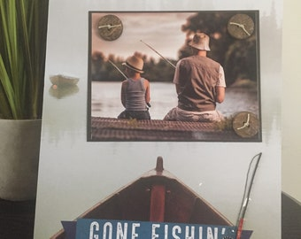 Gone Fishing - Magnetic Picture Frame Handmade Father Father's Day Son Gift Home Decor by Frame A Memory Size 9 x 11 Holds 5 x 7 Photo