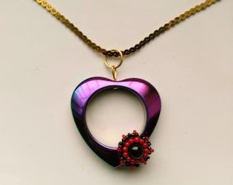 Heat Treated Titanium Carved Heart Pendant, Beadwoven Black Moonstone&Agate Flower, Valentine's Purple Green Romantic Heart, Vintage Chain,