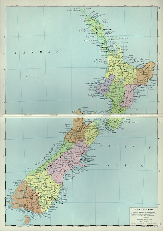Large Map of NEW ZEALAND 1960 atlas antique map nz Map