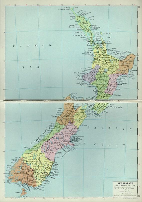 Gran mapa de Nueva Zelanda mapa antiguo del atlas de 1960