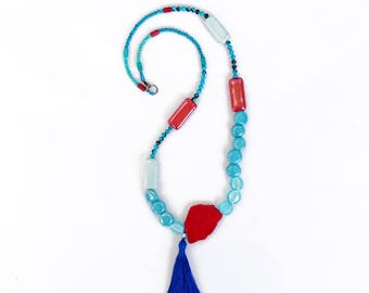 Long Beaded Tassel Necklace, Red Blue Turquoise Necklace, Porcelain Glass Beaded Necklace, Double Wrap Necklace