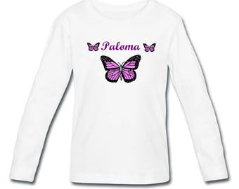 Girl Butterfly personalized with name long sleeve t-shirt