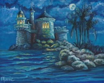 Mermaids view, oil painting, landscape painting, fantasy, original art