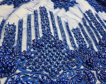 Wife of King Beaded Lace New Queen Fabric By The Yard (Royal)
