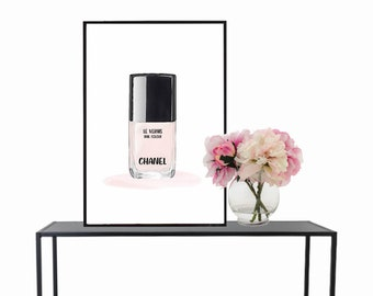 Chanel nail polish, wall art, poster, illustration, instant download