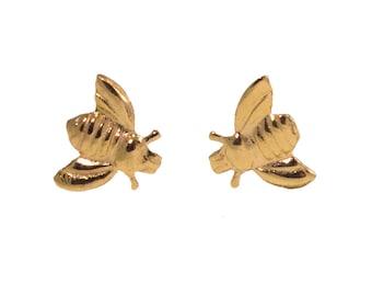 Girls Gold Earrings - Dainty Earrings - Gold Stud Earrings - Honey Bee Earrings - Bee Jewelry - Honey Bee Jewelry - Gold Earrings For Girls