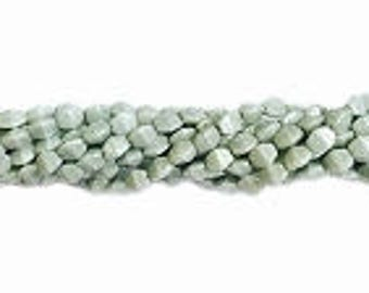 Pinch Beads Sage Green Luster 5X3mm 35 pieces Czech Glass Three Sided Beads Tri-Ovals